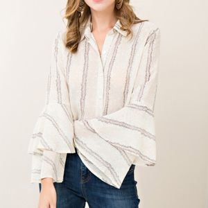 Tops - NEW Floral Print Double Ruffle Bell Sleeve Blouse